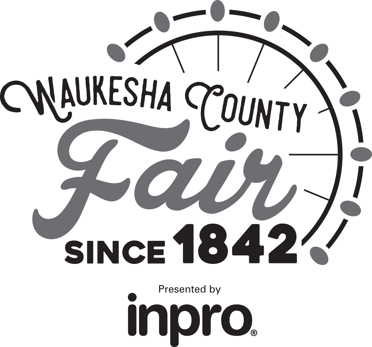 Waukesha County Fair 2018 Grayscale Logo